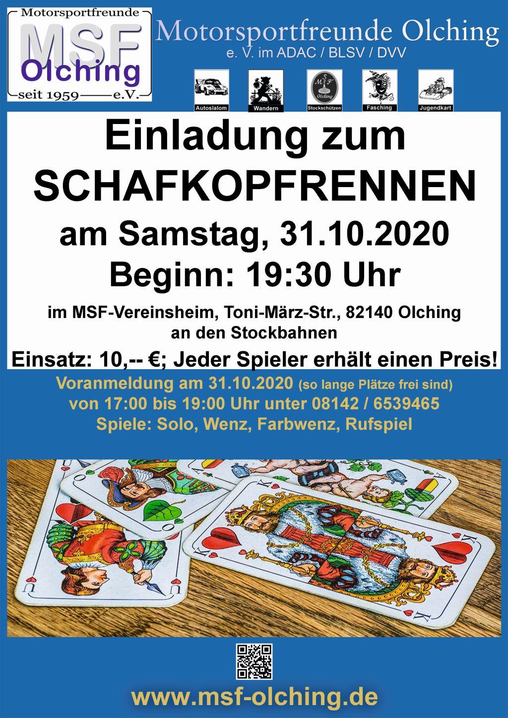 MSF-Schafkopfturnier am 31.10.2020